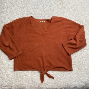 Madewell Burnt Orange Tie Front Cropped Shirt